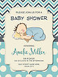 Beautiful Baby Boy Shower Card With Little Baby, Vector Format