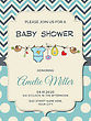 Beautiful Baby Boy Shower Card, Vector Format