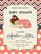 Beautiful Baby Girl Shower Card With Cute Little Girl, Vector Format