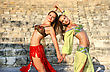 Skirt Beautiful Belly Dancers On The Ancient Stairs Of Kourion Amphitheatre In Cyprus stock photography