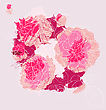Beautiful Bouquet Blooming Roses. Handdrawn Vector Illustration