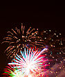 Beautiful Fireworks In The Night Sky stock photo
