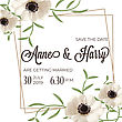 Beautiful Floral Wedding Invitation In Watercolor Style, Vector Format