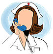 Beautiful Friendly And Confident Nurse Talking By Phone , Vector Illustration