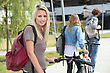 Beautiful Girl Go To The University With Her Friends stock photo