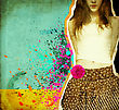 Beautiful Girl .Grunge Background On Old Paper Texture For Design