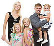 Smiling Beautiful Happy Family Of Mother Father And Three Daughters Standing Over White Background stock photo