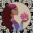 Beautiful Indian Woman With Lotus. Vector Illustration stock vector