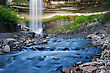 Beautiful Minnehaha Creek Waterfall And Downstream River stock photography