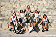 Aerobics Beautiful Modern Dancers On The Ancient Stairs Of Kourion Amphitheatre In Cyprus stock photo