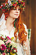 Beautiful Red Hair Bride With Flowers. Image Toned In Warm Colors. Spring Woman stock photo