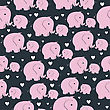 Beautiful Seamless Pattern With Morher And Baby Elephant