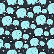 Beautiful Seamless Pattern With Morher And Baby Elephant stock illustration