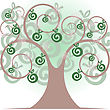 Beautiful Stylized Tree With Apples And Flowers