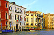 Gondolier Beautiful Water Street - Grand Canal In Venice, Italy stock photo