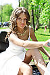 Beautiful Young Bride Sitting On A Motorcycle stock photography