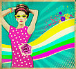 Beautiful Young Woman In Pink Dress And Summer Sunglasses .retro Poster Background