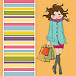 Beautiful Young Woman At Shopping Illustration In Vector Format