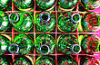 Beer Bottles Of Green Glass. Empty Green Bottlse In Box. Top View stock photo