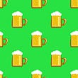 Cheer Beer Mug Isolated On Green Background. Seamless Pattern stock illustration