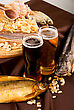 Beer And Snacks Set: Chips, Pistachio, Shrimp And Fish stock photography