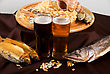 Beer And Snacks Set: Chips, Pistachio, Shrimp And Fish stock image