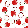 Bell Red Peppers Seamless Pattern On Green Background