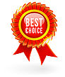 Best Choice Red Label With Ribbons. Vector Illustration