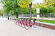 Bicycle Parking In Moscow stock photography