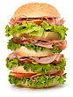 Big Appetizing Fast Food Sandwich With Lettuce, Tomato, Smoked Ham And Cheese Isolated On White Background. Junk Food Hamburger stock image