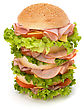 Unhealthy Big Appetizing Fast Food Sandwich With Lettuce, Tomato, Smoked Ham And Cheese Isolated On White Background. Junk Food Hamburger stock photography