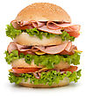 Big Appetizing Fast Food Sandwich With Lettuce, Tomato, Smoked Ham And Cheese Isolated On White Background. Junk Food Hamburger stock photography