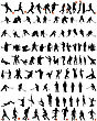 Big Collection Of Different People Vector Silhouette. Dance And Sport