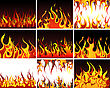 Big Collection Of Fire Elements. Fully Editable EPS 8 Vector Illustration.