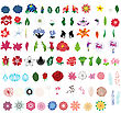 Big Collection Of Flowers. Fully Editable Vector Illustration