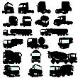 Big Collection Of High Detail Trucks Silhouette. Vector Illustration.