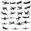 Big Collection Of Different Airplane Silhouettes.