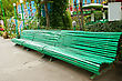 Big Green Bench In The Park. stock image