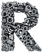 Big Letter R Made From Metal Fasteners