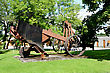 Big Metal Plough On Steel Wheels stock photo