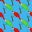 Big Red And Green Parrot Isolated On Blue Background. Bird Pattern stock illustration