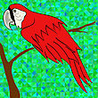 Big Red Parrot Sitting On A Branch On Green Polygonal Background