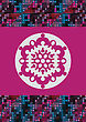 Big Snowflake On The Pink Background And Colorful Halftone Border