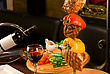 Big Tasty Roasted Meat Cuts At Skewer On A Decorated Table stock photography