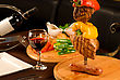 Big Tasty Roasted Meat Cuts At Skewer On A Decorated Table stock image