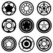 Bike Chainrings And Rear Sprocket. Set Of Chainwheels Silhouettes