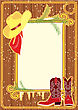 Billboard Frame With Cowboy Hat And Boots, Christmas Background