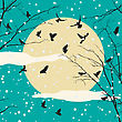 Birds And Tree On Moon Set, Romantic Winter Background