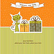Birthday Announcement Card With Cat stock illustration