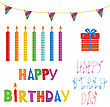 Birthday Elements Set In Bright Colors. Candles, Present Box,flags And Text Happy Birthday. Good For Scrapbooking Or Greeting Card Design